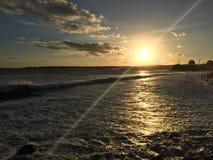 在海滩的日落在鹿港在台湾 图库摄影