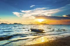 在海洋的日落波浪 库存图片