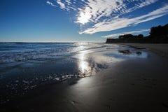 在海滩2的日落 库存图片