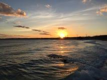 在海滩& x28的日落; Taiwan& x29; 图库摄影