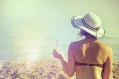 在海滩的日 免版税库存照片