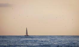 在海洋的晚上 库存图片