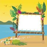 在海滩的暑假与拷贝间隔背景 免版税库存图片