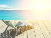 在海滩的暑假,光圈效应 库存图片