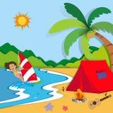 在海滩的暑假 库存照片