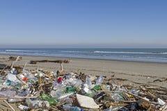 在海滩的有害废料 免版税库存照片