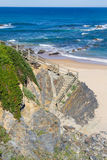 在海滩的木台阶在Almograve 库存图片
