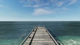 在海滩的木码头与棕榈树 股票视频