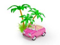 在海滩的桃红色小汽车 库存图片