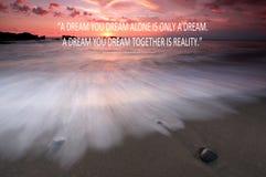 在海滩的模糊的日落与激动人心的行情-您作单独的梦是仅梦想,您作一起是真正的A梦 库存图片