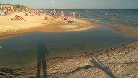 在海滩的污水管子 股票录像