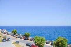 在海滩的汽车停车处 库存图片