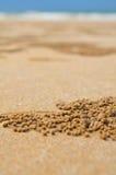 在海滩的沙子的视图 库存照片