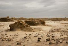 在海滩的沙尘暴 库存图片