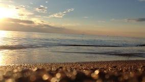 在海滩的波浪在日落 股票视频