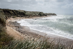 在海滩的波浪 免版税库存图片