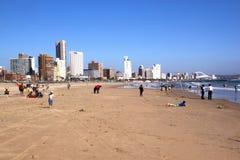 在海滩的清早在德班,南非 库存图片