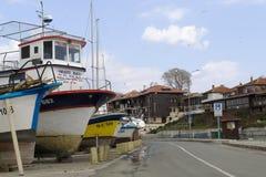 在海滨的渔夫小船 免版税图库摄影