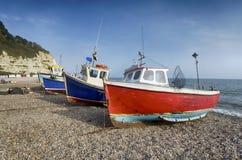 在海滩的渔船在啤酒在德文郡 免版税库存照片
