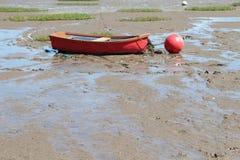 在海滩的渔船在Morecombe 免版税图库摄影