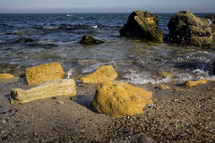 在海滩的石头 库存图片