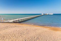 在海滩的码头红海在Hurghada 免版税图库摄影