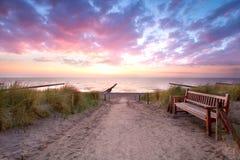 在海滩的空的长凳 免版税库存图片