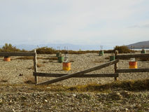 在海滩的篱芭。 库存照片