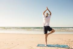 在海滩的老人实践的树姿势背面图  免版税库存图片