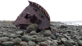在海滩的老海难在斯塔万格挪威之外 图库摄影