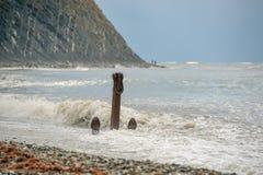 在海滩的老船锚 库存照片