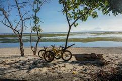 在海滩的自行车 免版税库存照片