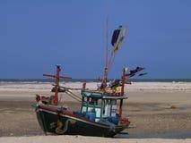 在海滩的船 库存图片