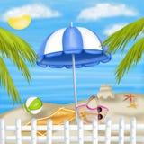 在海滩的蓝色遮阳伞 免版税库存照片