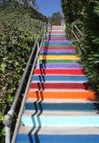 在海滩的被绘的楼梯 库存图片