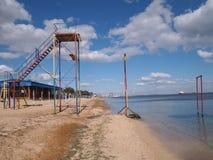 在海滩的观测塔 库存图片