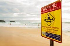 在海滩的警报信号 库存照片
