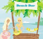 在海滩的酒吧 免版税库存图片