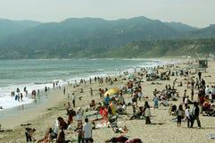 在海滩的野餐,圣塔蒙尼卡海滩,加利福尼亚,美国 免版税库存照片