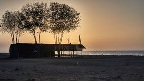 在海滩的金黄日落 免版税库存图片