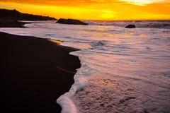 在海滩的金黄日落 图库摄影