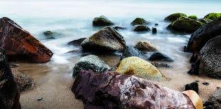 在海滩的长的曝光 库存图片