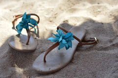 在海滩的鞋子 库存照片