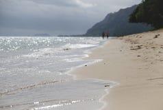 在海滩的风暴日 免版税库存图片