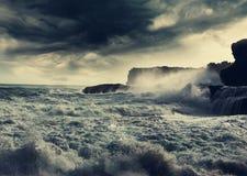 在海洋的风暴 免版税库存图片