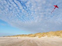 在海滩的飞行风筝丹麦,欧洲 库存照片