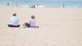 在海滩的高级夫妇 库存图片