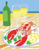 在海滩的龙虾 库存例证