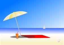 在海滩的晴天 库存图片