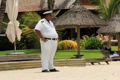 在海滩的治安警卫,毛里求斯 库存图片